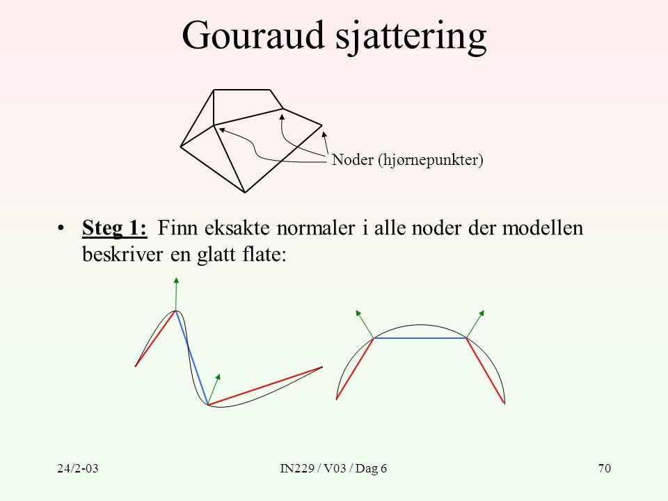 24/2-03IN229 / V03 / Dag 670 Gouraud sjattering Steg 1: Finn eksakte normaler i alle noder der modellen beskriver en glatt flate: Noder (hjørnepunkter