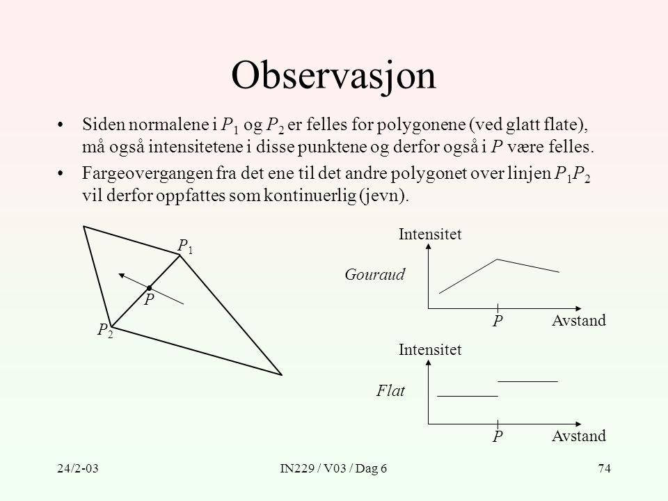 24/2-03IN229 / V03 / Dag 674 Siden normalene i P 1 og P 2 er felles for polygonene (ved glatt flate), må også intensitetene i disse punktene og derfor