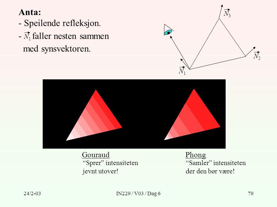 """24/2-03IN229 / V03 / Dag 679 Anta: - Speilende refleksjon. - N 1 faller nesten sammen med synsvektoren. N1N1 N2N2 N3N3 GouraudPhong """"Sprer"""" intensitet"""