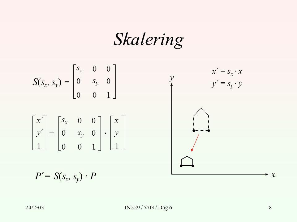 24/2-03IN229 / V03 / Dag 69 Rotasjon R(  ) = x´x´ y´y´ 1 = x y 1 · P´= R(  ) · P cos  0 0 001 –sin  cos  sin  cos  0 0 001 –sin  cos  sin  y´ = x · sin  + y · cos  x´ = x · cos  – y · sin  x y 