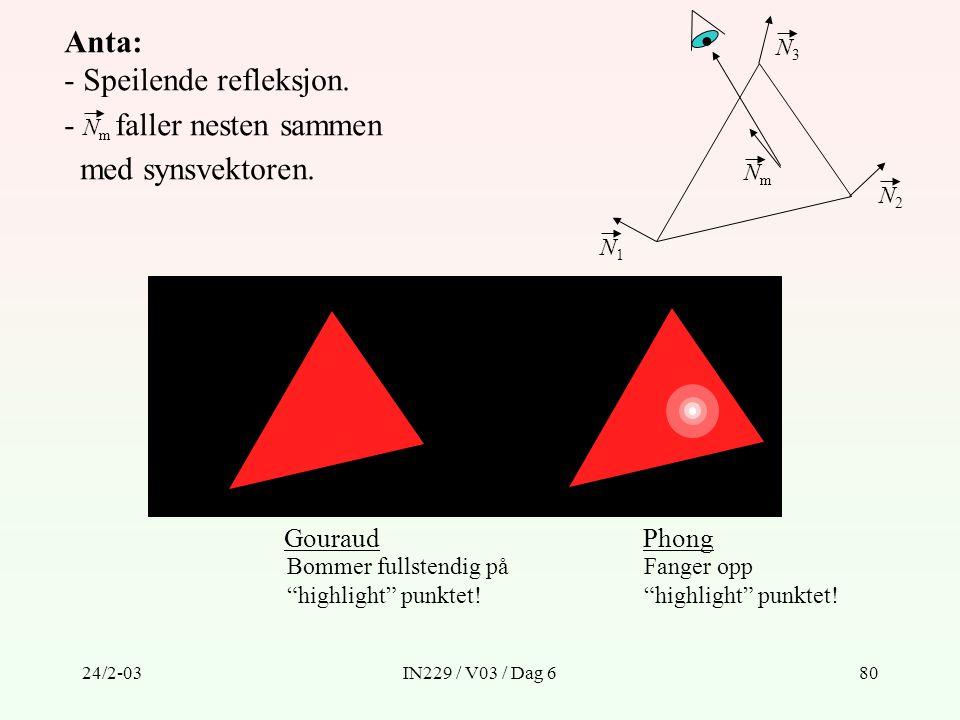 24/2-03IN229 / V03 / Dag 680 Anta: - Speilende refleksjon. - N m faller nesten sammen med synsvektoren. N1N1 N2N2 N3N3 GouraudPhong Bommer fullstendig