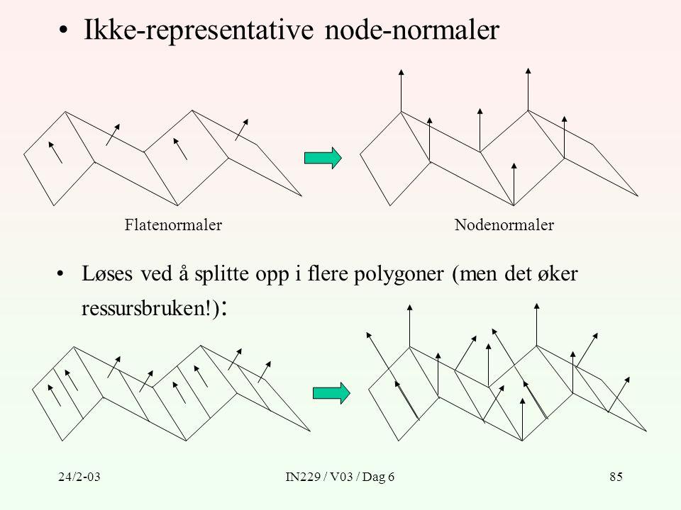 24/2-03IN229 / V03 / Dag 685 Ikke-representative node-normaler FlatenormalerNodenormaler Løses ved å splitte opp i flere polygoner (men det øker ressu