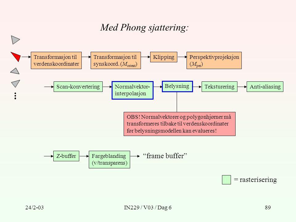 24/2-03IN229 / V03 / Dag 689 Transformasjon til verdenskoordinater Transformasjon til synskoord. (M orient ) KlippingPerspektivprojeksjon (M per ) Sca