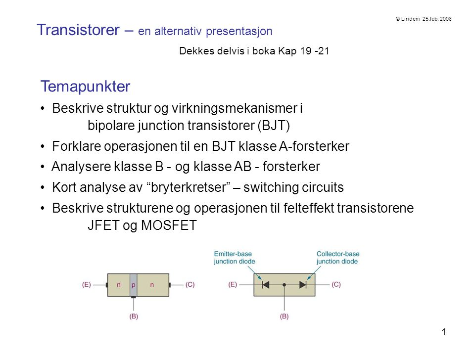 1 Transistorer – en alternativ presentasjon Dekkes delvis i boka Kap 19 -21 Temapunkter Beskrive struktur og virkningsmekanismer i bipolare junction transistorer (BJT) Forklare operasjonen til en BJT klasse A-forsterker Analysere klasse B - og klasse AB - forsterker Kort analyse av bryterkretser – switching circuits Beskrive strukturene og operasjonen til felteffekt transistorene JFET og MOSFET © Lindem 25.feb.