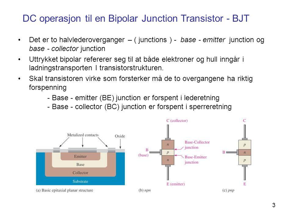 4 DC operasjon til en Bipolar Junction Transistor - BJT nnp ++-- Emitter Base Kollektor Base-Emitter-dioden forspennes i sperreretning.