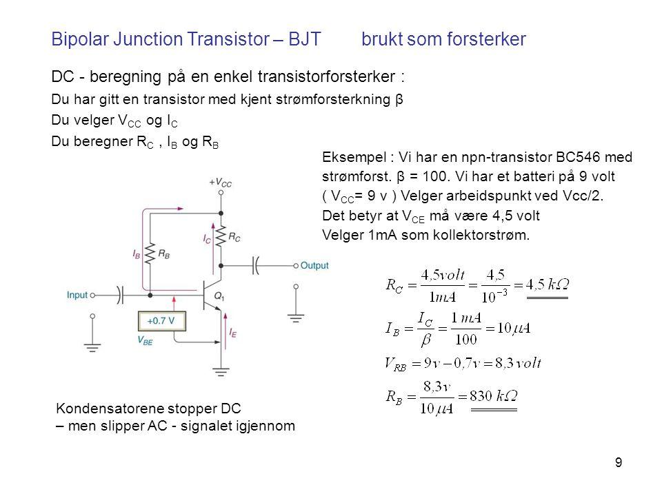 9 Bipolar Junction Transistor – BJT brukt som forsterker DC - beregning på en enkel transistorforsterker : Du har gitt en transistor med kjent strømforsterkning β Du velger V CC og I C Du beregner R C, I B og R B Kondensatorene stopper DC – men slipper AC - signalet igjennom Eksempel : Vi har en npn-transistor BC546 med strømforst.