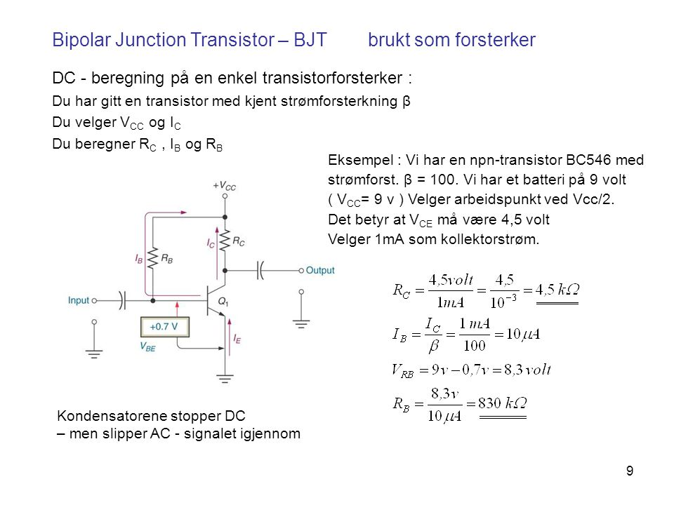 10 Datablad for en Bipolar Junction Transistor – BC546 β Denne transistoren brukes på laben i FYS1210