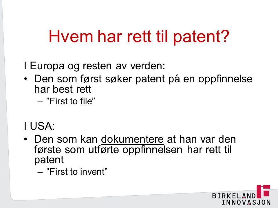 Hvem har rett til patent.