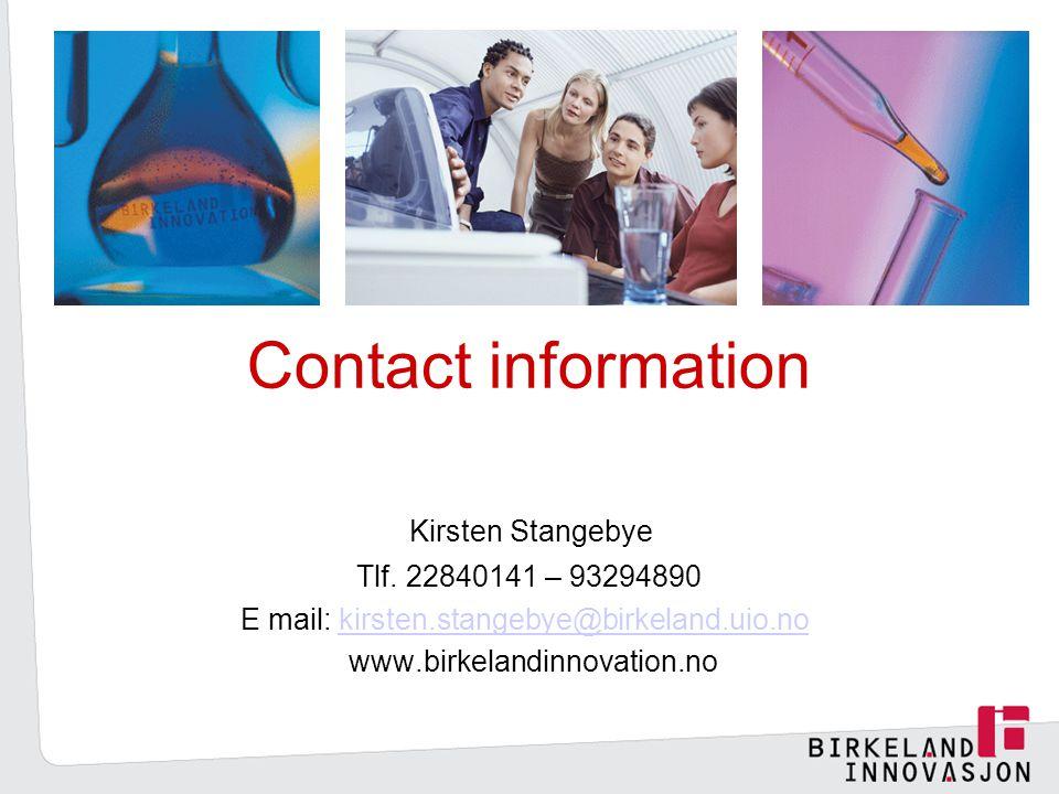 Contact information Kirsten Stangebye Tlf.