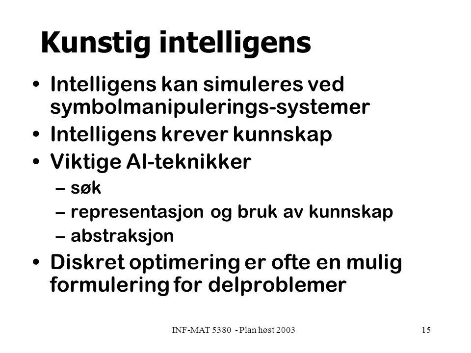 INF-MAT 5380 - Plan høst 200315 Kunstig intelligens Intelligens kan simuleres ved symbolmanipulerings-systemer Intelligens krever kunnskap Viktige AI-teknikker –søk –representasjon og bruk av kunnskap –abstraksjon Diskret optimering er ofte en mulig formulering for delproblemer