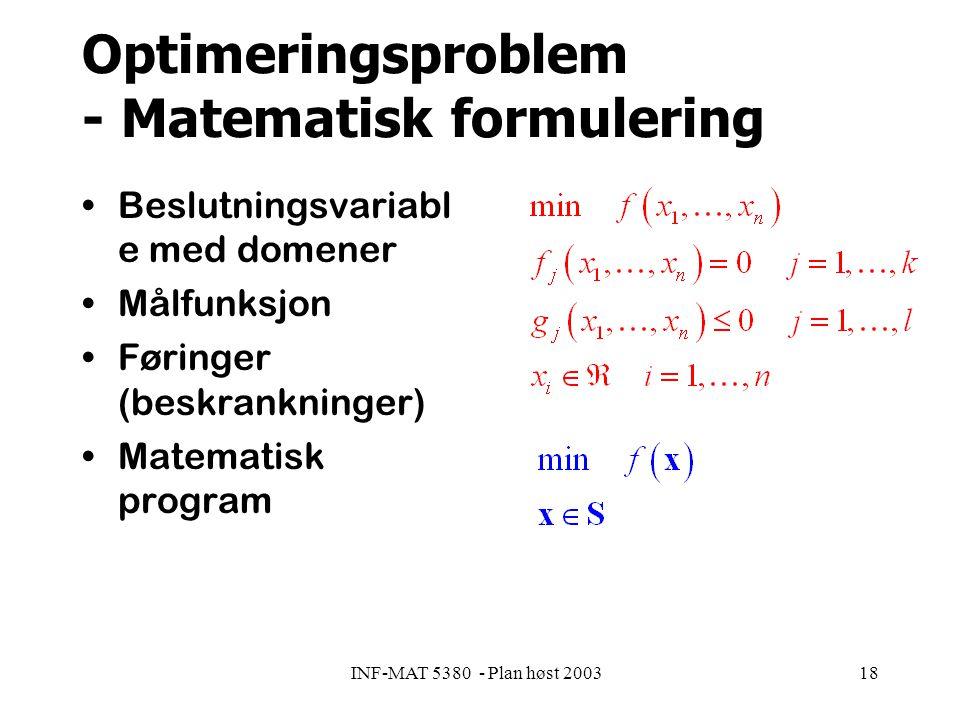 INF-MAT 5380 - Plan høst 200318 Optimeringsproblem - Matematisk formulering Beslutningsvariabl e med domener Målfunksjon Føringer (beskrankninger) Matematisk program