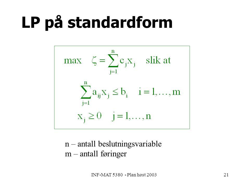 INF-MAT 5380 - Plan høst 200321 LP på standardform n – antall beslutningsvariable m – antall føringer