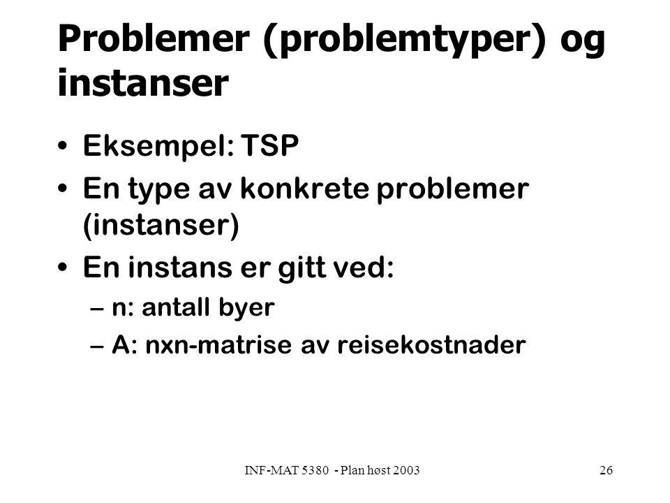 INF-MAT 5380 - Plan høst 200326 Problemer (problemtyper) og instanser Eksempel: TSP En type av konkrete problemer (instanser) En instans er gitt ved: –n: antall byer –A: nxn-matrise av reisekostnader