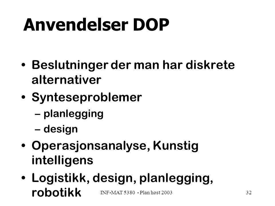 INF-MAT 5380 - Plan høst 200332 Anvendelser DOP Beslutninger der man har diskrete alternativer Synteseproblemer –planlegging –design Operasjonsanalyse, Kunstig intelligens Logistikk, design, planlegging, robotikk