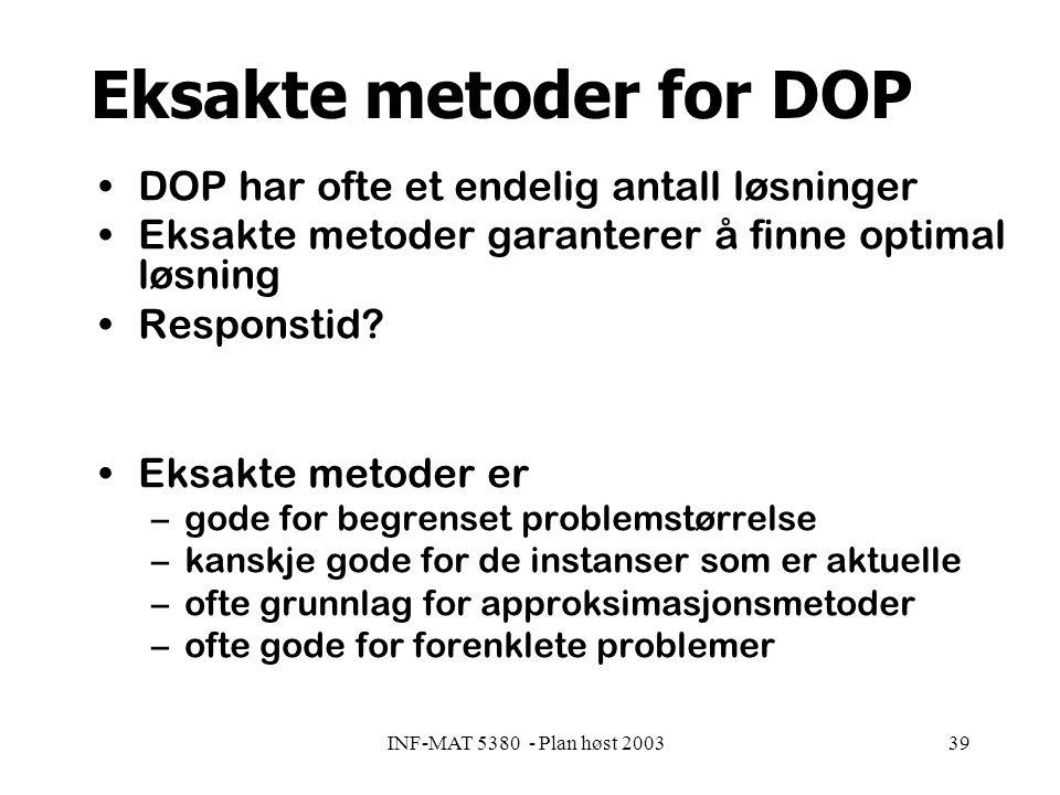 INF-MAT 5380 - Plan høst 200339 Eksakte metoder for DOP DOP har ofte et endelig antall løsninger Eksakte metoder garanterer å finne optimal løsning Responstid.