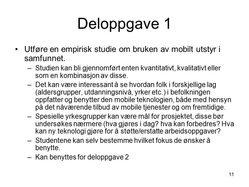 11 Deloppgave 1 Utføre en empirisk studie om bruken av mobilt utstyr i samfunnet.