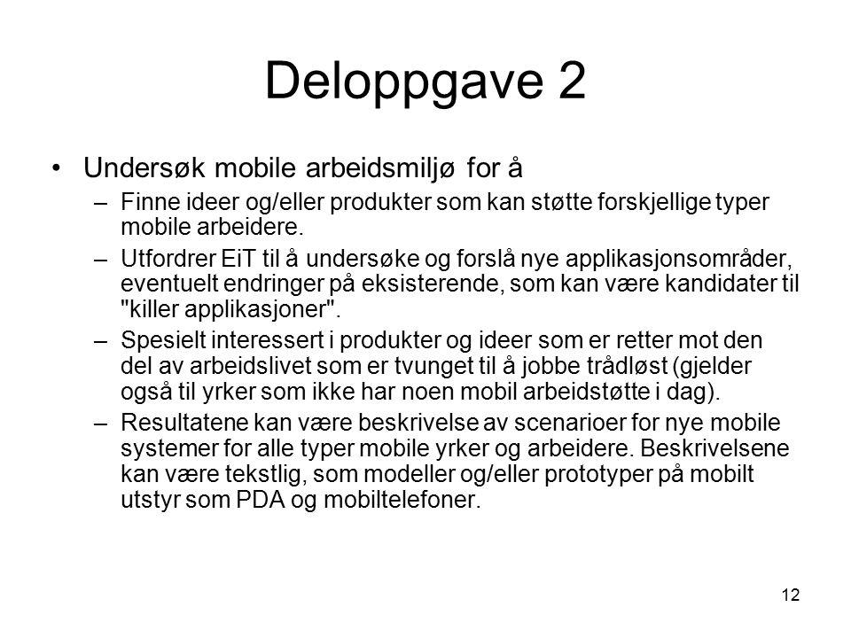 12 Deloppgave 2 Undersøk mobile arbeidsmiljø for å –Finne ideer og/eller produkter som kan støtte forskjellige typer mobile arbeidere.