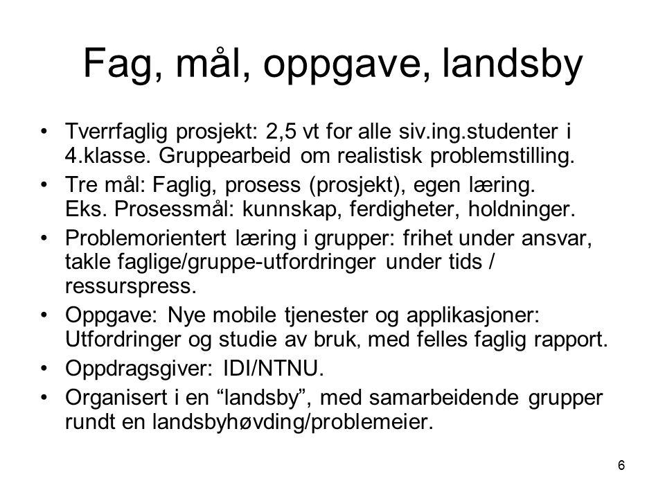 6 Fag, mål, oppgave, landsby Tverrfaglig prosjekt: 2,5 vt for alle siv.ing.studenter i 4.klasse.