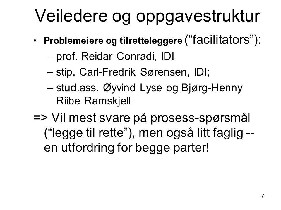 18 Prosess: stud.ass.-rolle (3) To stud.ass.: –Øyvind Lyse –Bjørg-Henny Riibe Ramskjell Rollen som fasilitator / hjelper: –Kun gruppeprosess, ikke faglig –Hjelp til refleksjonsrapport –Være verktøy/ressurs, men ingen fasit.