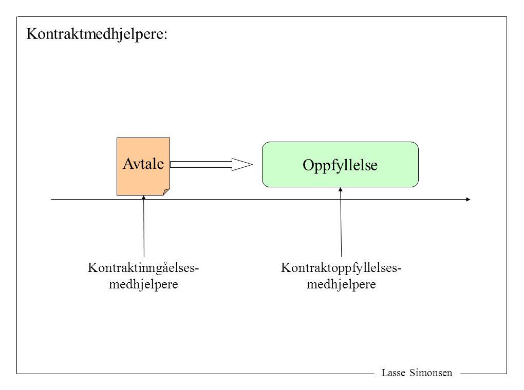 Lasse Simonsen Avtale Oppfyllelse Kontraktinngåelses- medhjelpere Kontraktoppfyllelses- medhjelpere Kontraktmedhjelpere: