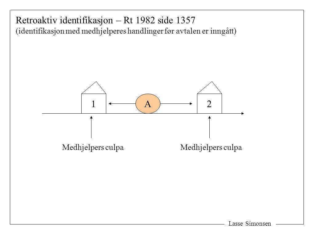 1A Medhjelpers culpa Retroaktiv identifikasjon – Rt 1982 side 1357 (identifikasjon med medhjelperes handlinger før avtalen er inngått) 2 Medhjelpers c