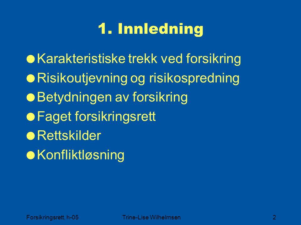 Forsikringsrett, h-05Trine-Lise Wilhelmsen13 Forvaltningsrett og forsikringavtalerett Lovgiver FVL Forsikrings virksomheten Avtale Forsikrings takere FAL