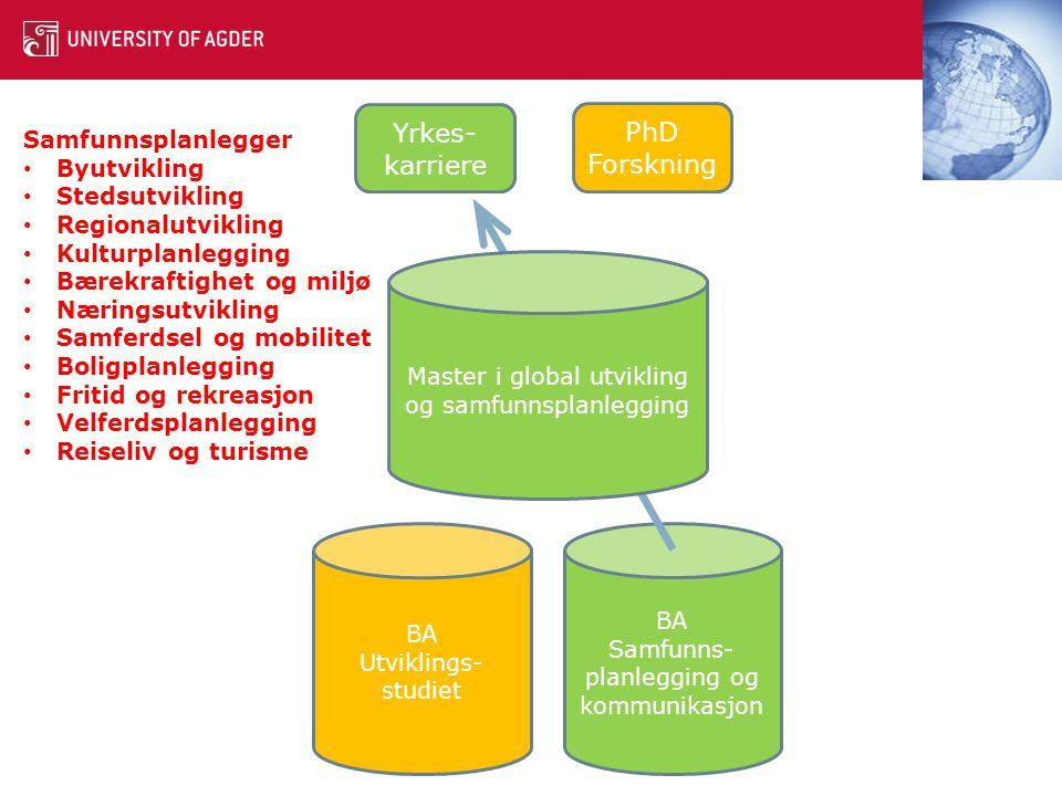 Institutt for global utvikling og samfunnsplanlegging Ta kontakt for mer informasjon Rådgiver: Jannik Stølen Timenes tlf.