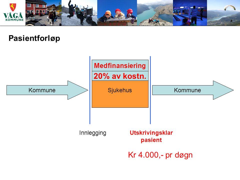 Pasientforløp Kommune Sjukehus Kommune Utskrivingsklar pasient Innlegging Kr 4.000,- pr døgn 20% av kostn.