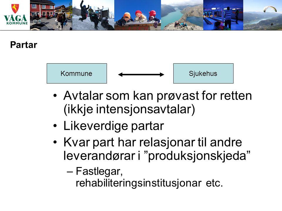Partar KommuneSjukehus Avtalar som kan prøvast for retten (ikkje intensjonsavtalar) Likeverdige partar Kvar part har relasjonar til andre leverandørar i produksjonskjeda –Fastlegar, rehabiliteringsinstitusjonar etc.