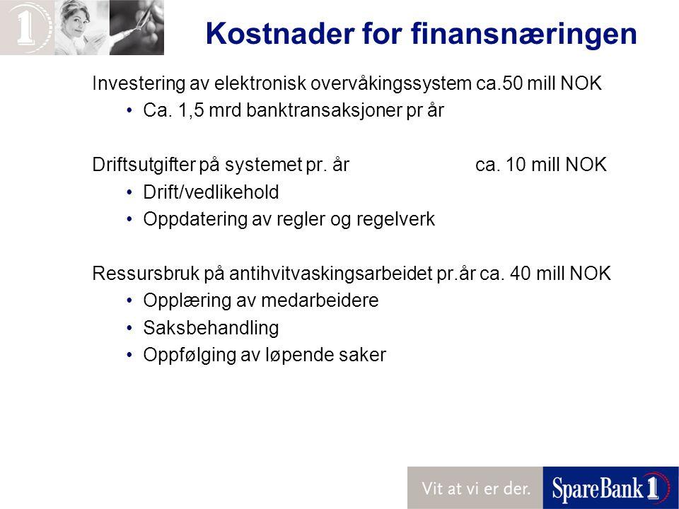 Kostnader for finansnæringen Investering av elektronisk overvåkingssystem ca.50 mill NOK Ca.