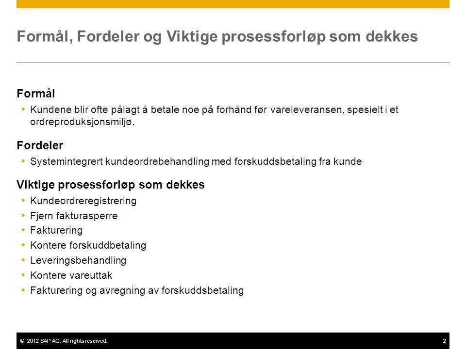 ©2012 SAP AG. All rights reserved.2 Formål, Fordeler og Viktige prosessforløp som dekkes Formål  Kundene blir ofte pålagt å betale noe på forhånd før