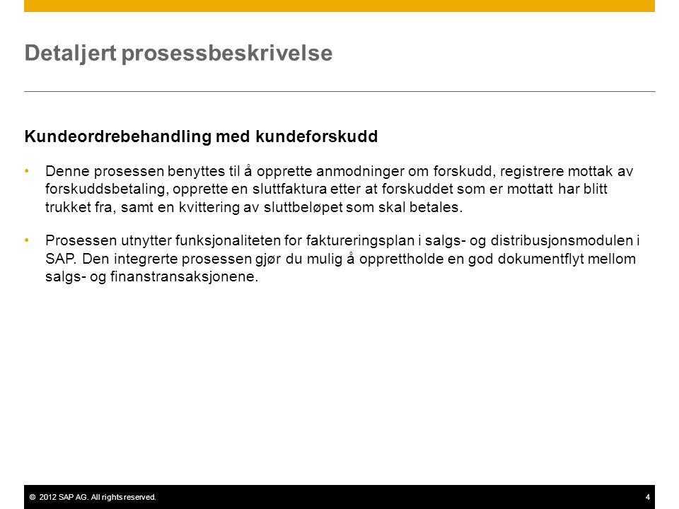 ©2012 SAP AG. All rights reserved.4 Detaljert prosessbeskrivelse Kundeordrebehandling med kundeforskudd Denne prosessen benyttes til å opprette anmodn