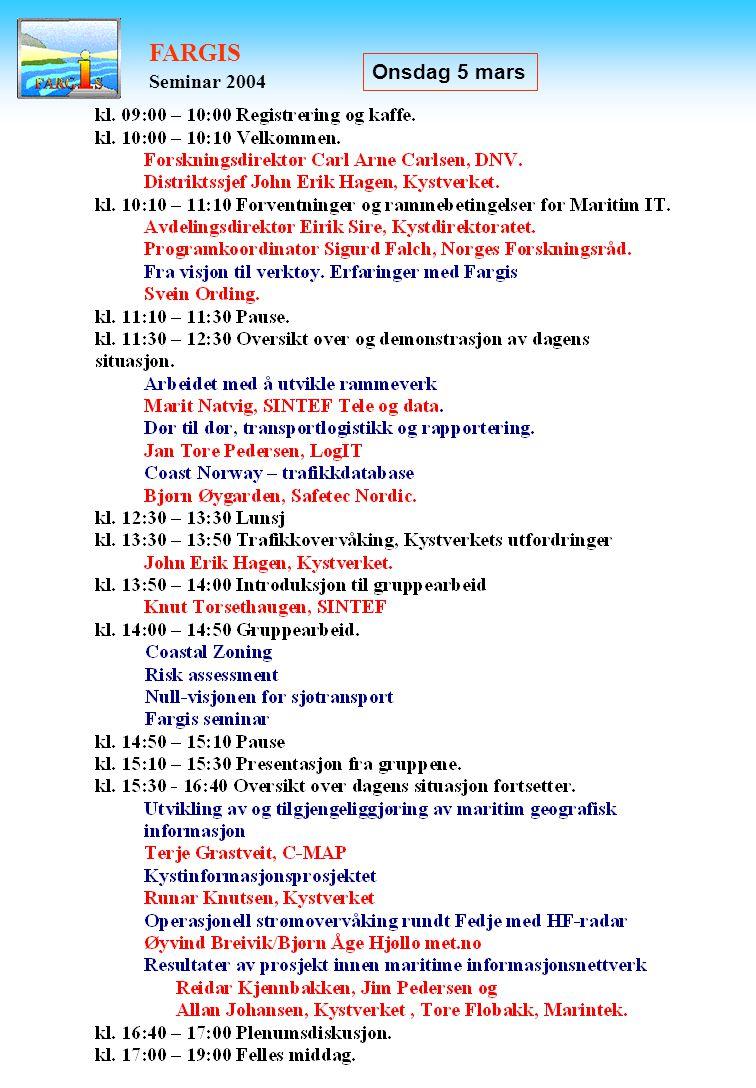 FARGIS Seminar 2004 Onsdag 5 mars