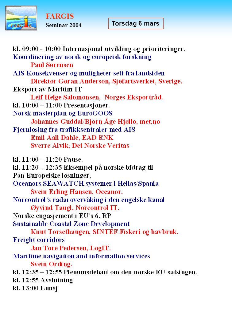 FARGIS Seminar 2004 Torsdag 6 mars