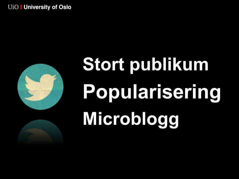 Stort publikum Popularisering Microblogg