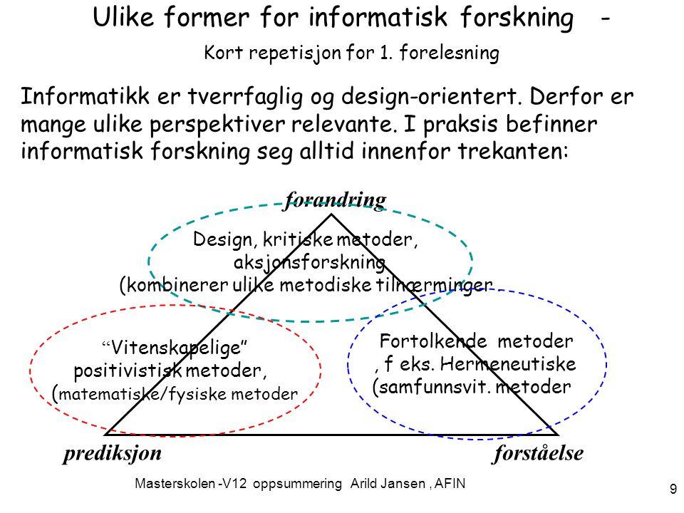Masterskolen -V12 oppsummering Arild Jansen, AFIN 9 Ulike former for informatisk forskning - Kort repetisjon for 1.