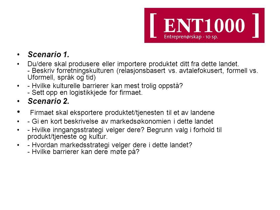 Scenario 1.Du/dere skal produsere eller importere produktet ditt fra dette landet.