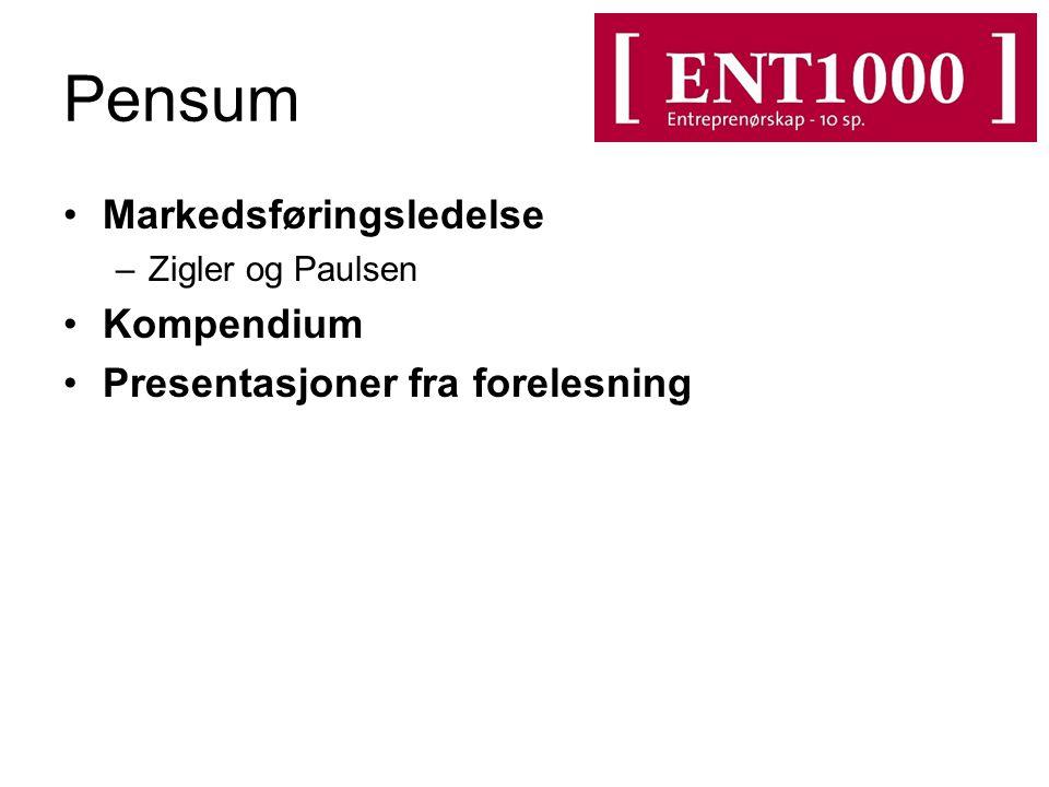 Pensum Markedsføringsledelse –Zigler og Paulsen Kompendium Presentasjoner fra forelesning