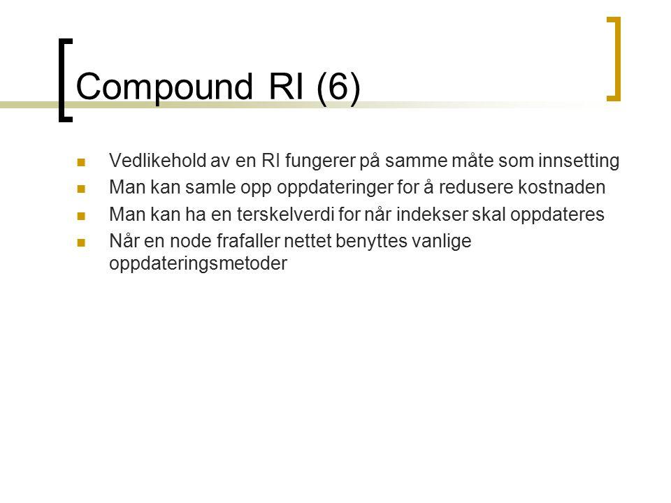 Compound RI (6) Vedlikehold av en RI fungerer på samme måte som innsetting Man kan samle opp oppdateringer for å redusere kostnaden Man kan ha en ters