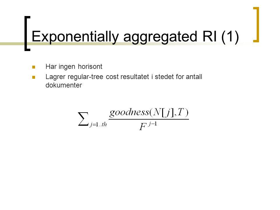 Exponentially aggregated RI (1) Har ingen horisont Lagrer regular-tree cost resultatet i stedet for antall dokumenter