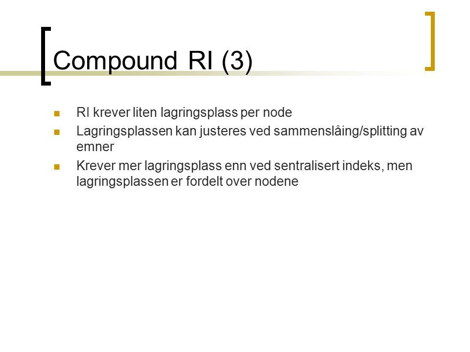 Compound RI (3) RI krever liten lagringsplass per node Lagringsplassen kan justeres ved sammenslåing/splitting av emner Krever mer lagringsplass enn v