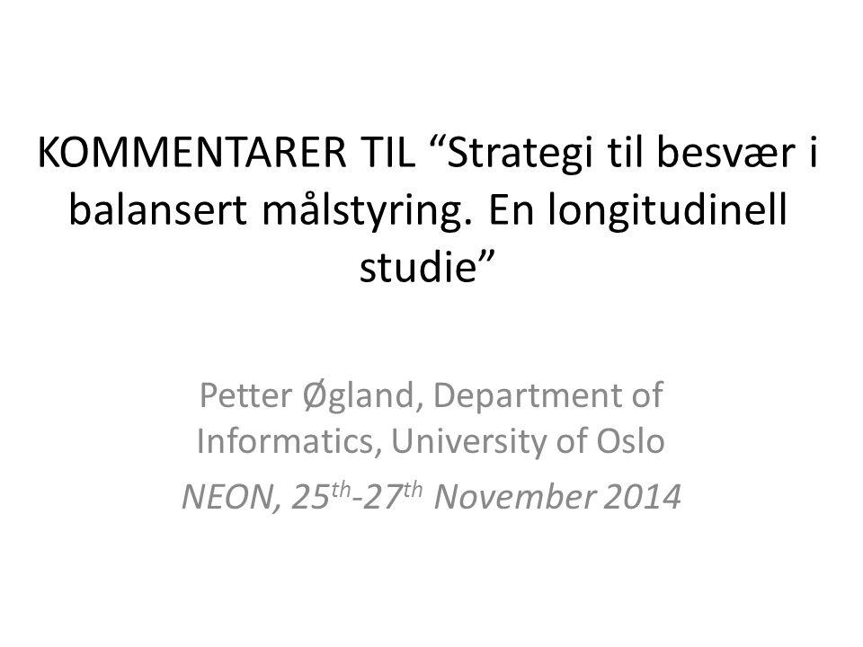 KOMMENTARER TIL Strategi til besvær i balansert målstyring.