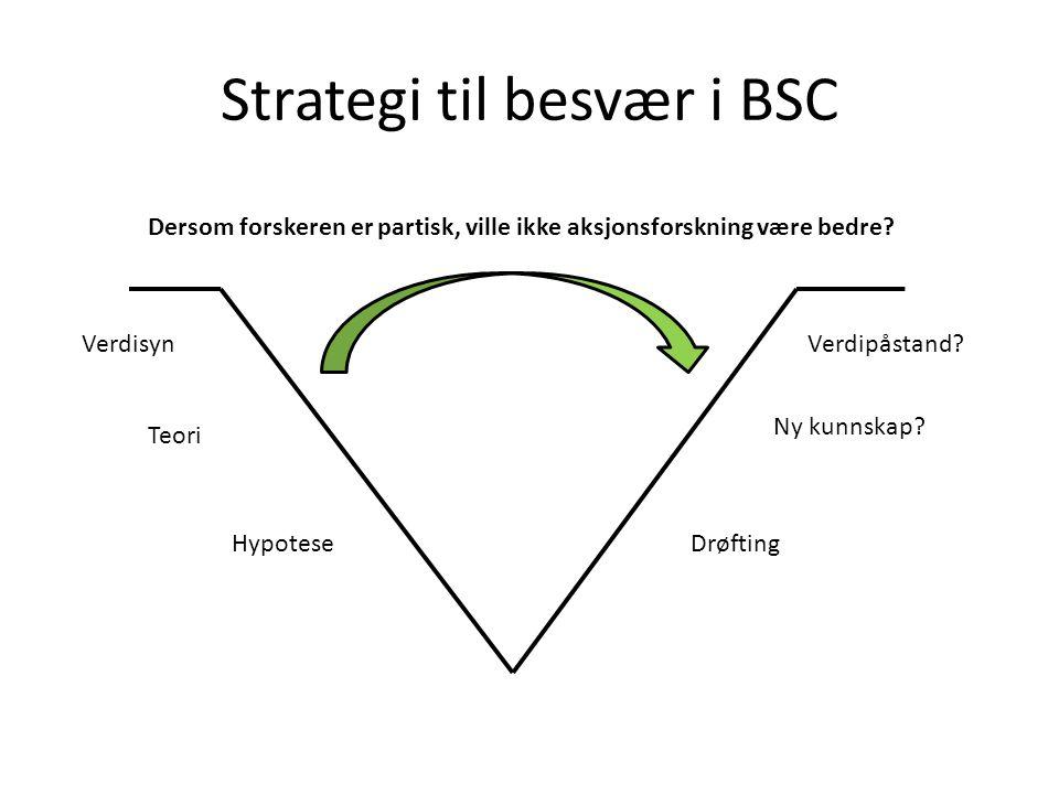 Strategi til besvær i BSC Dersom forskeren er partisk, ville ikke aksjonsforskning være bedre.