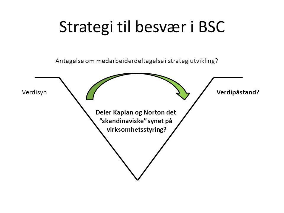 Strategi til besvær i BSC Antagelse om medarbeiderdeltagelse i strategiutvikling.