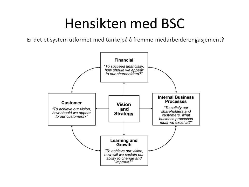 Hensikten med BSC Er det et system utformet med tanke på å fremme medarbeiderengasjement