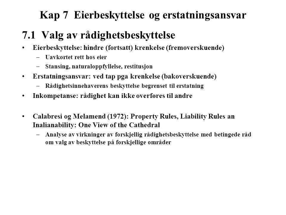 Kap 7 Eierbeskyttelse og erstatningsansvar 7.1 Valg av rådighetsbeskyttelse Eierbeskyttelse: hindre (fortsatt) krenkelse (fremoverskuende) –Uavkortet rett hos eier –Stansing, naturaloppfyllelse, restitusjon Erstatningsansvar: ved tap pga krenkelse (bakoverskuende) –Rådighetsinnehaverens beskyttelse begrenset til erstatning Inkompetanse: rådighet kan ikke overføres til andre Calabresi og Melamend (1972): Property Rules, Liability Rules an Inalianability: One View of the Cathedral –Analyse av virkninger av forskjellig rådighetsbeskyttelse med betingede råd om valg av beskyttelse på forskjellige områder