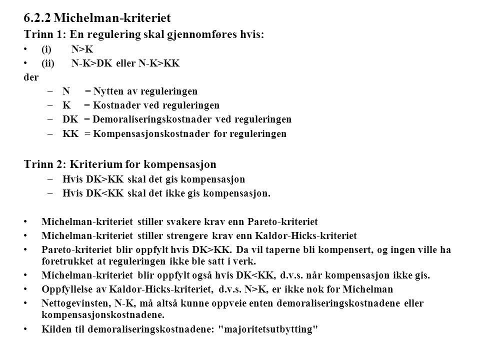 6.2.2 Michelman-kriteriet Trinn 1: En regulering skal gjennomføres hvis: (i)N>K (ii)N-K>DK eller N-K>KK der –N = Nytten av reguleringen –K = Kostnader ved reguleringen –DK = Demoraliseringskostnader ved reguleringen –KK = Kompensasjonskostnader for reguleringen Trinn 2: Kriterium for kompensasjon –Hvis DK>KK skal det gis kompensasjon –Hvis DK<KK skal det ikke gis kompensasjon.