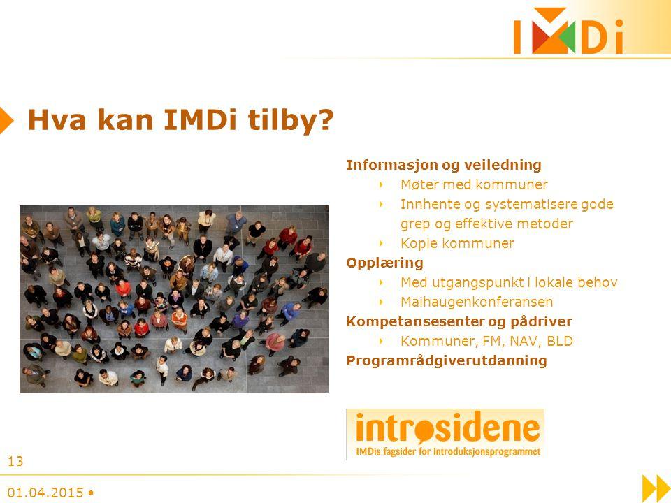 Hva kan IMDi tilby? Informasjon og veiledning Møter med kommuner Innhente og systematisere gode grep og effektive metoder Kople kommuner Opplæring Med