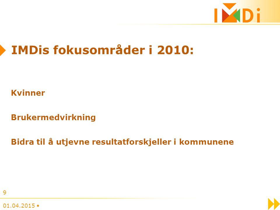 IMDis fokusområder i 2010: Kvinner Brukermedvirkning Bidra til å utjevne resultatforskjeller i kommunene 01.04.2015 9