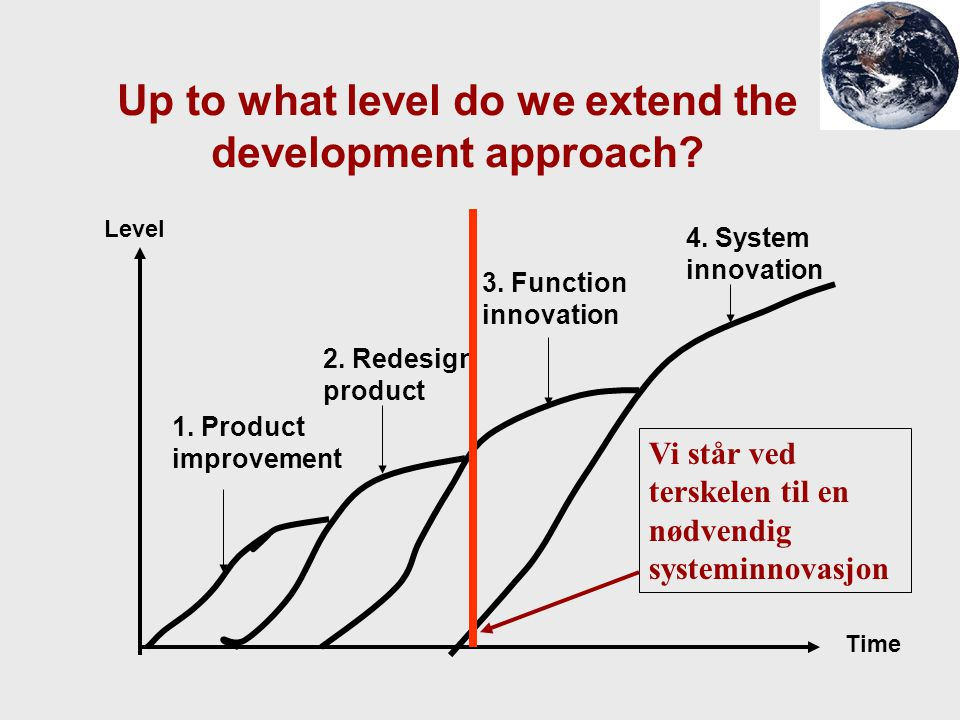 Up to what level do we extend the development approach? Level Time 1. Product improvement 2. Redesign product 3. Function innovation 4. System innovat